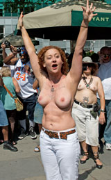 Photo:  Topless leader at Bryant Park